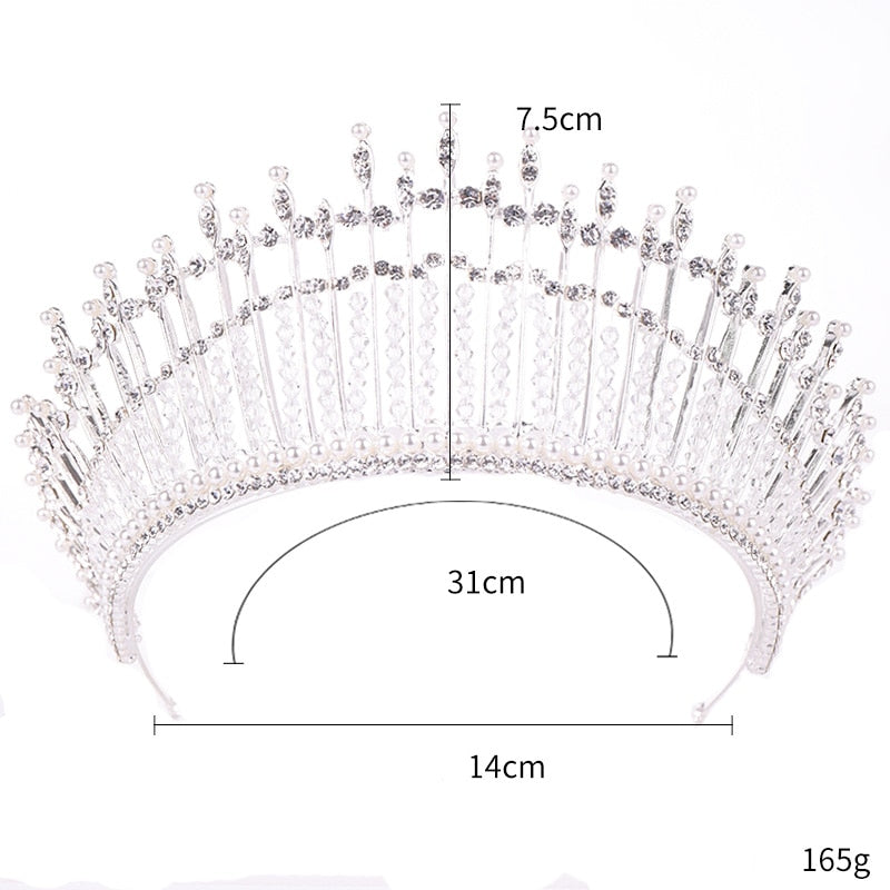 Pearl and Crystal Tiara Crown