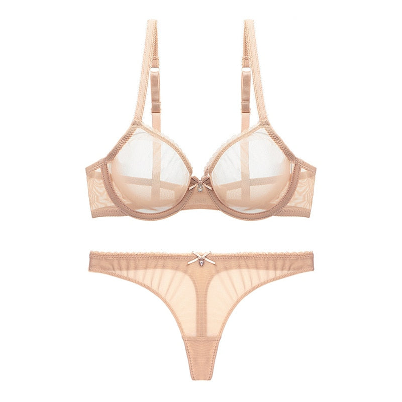 Unlined Transparent Thong And Bra Set