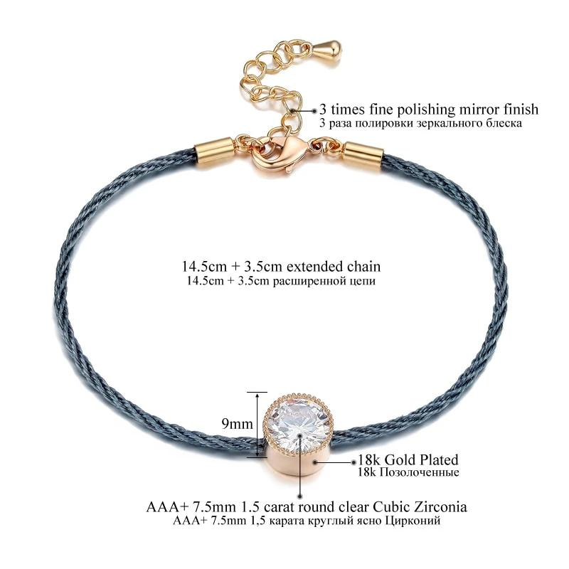1.5ct  CZ Crystal Rope Chain Bracelet