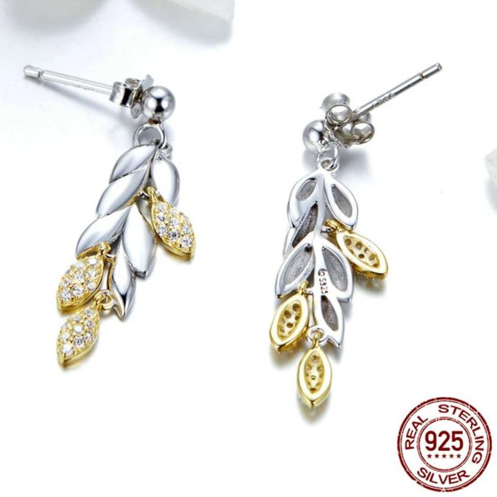 Sterling Silver Unique Wheat Drop Earrings