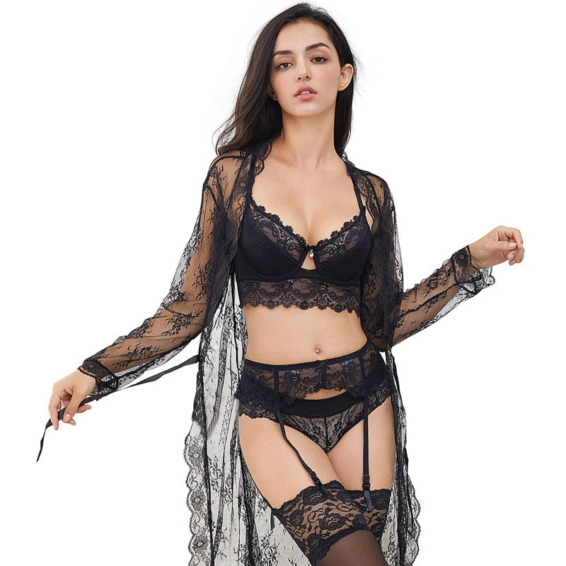 7 Pcs Sexy Lace Lingerie Set With Robe, Bra, Panties, Stockings, Y-line Straps & Thong