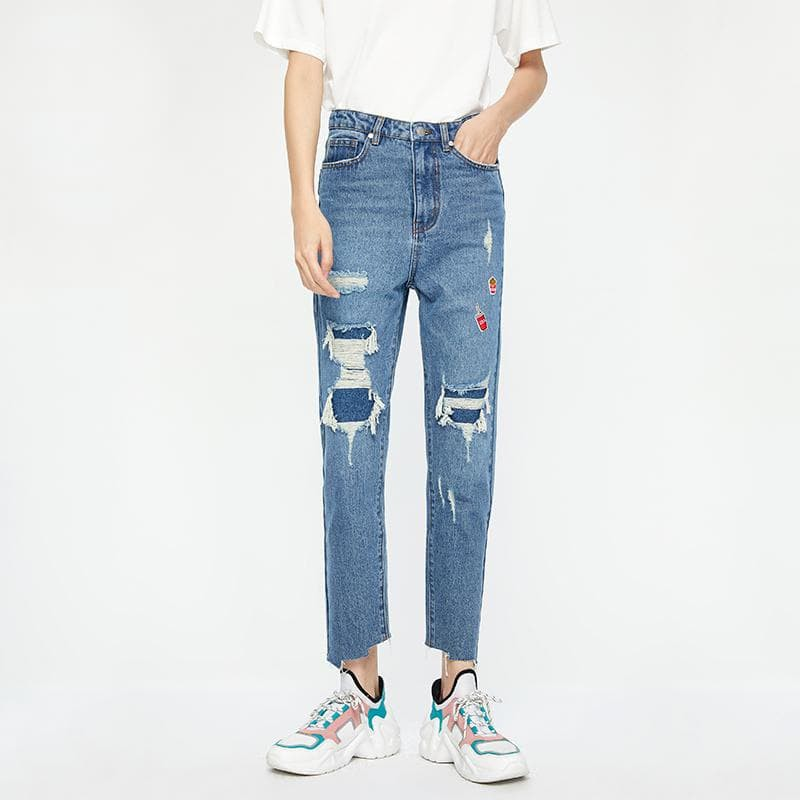 Ripped Slim  Ankle-Length Jeans