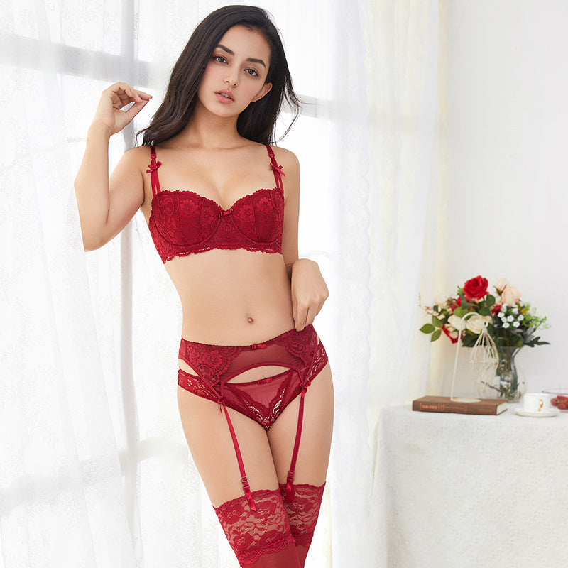 4pcs Lingerie Set With Bra, Panty, Garter & Stockings
