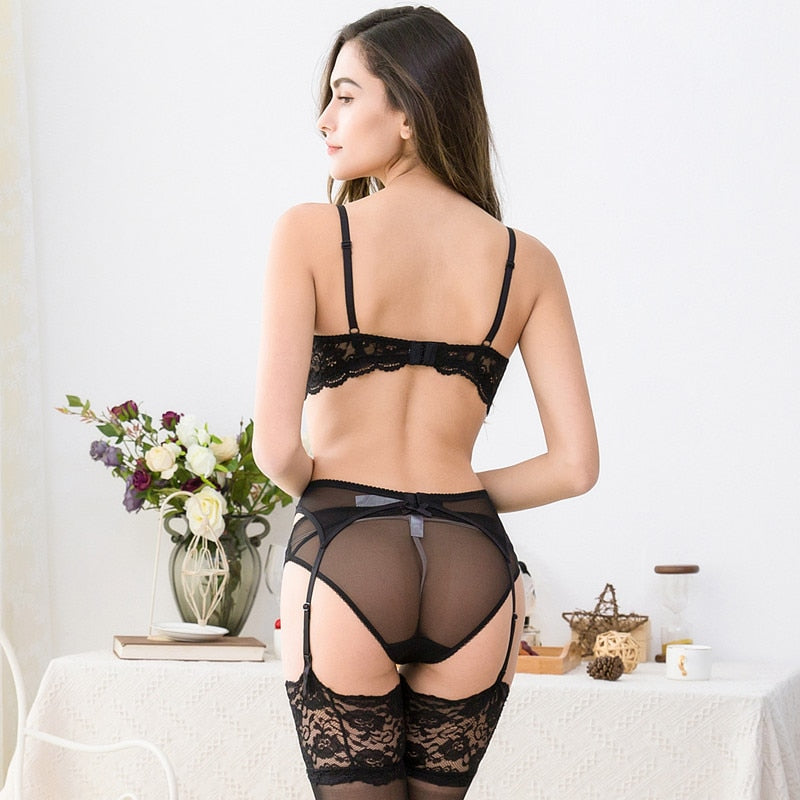 4pcs Lingerie Set With Half Cup Push-Up Bra, Panties, Garter & Stockings