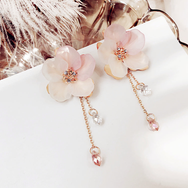 Frosted Petals Drop Earrings