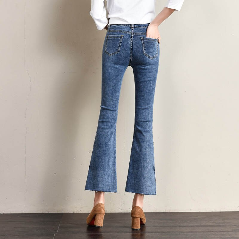 Ankle-Length Embroidery Flare Pants