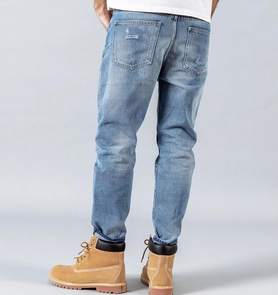 Ankle-Length Ripped Straight Jeans