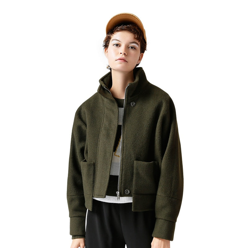 Solid Color Short Straight Wollen Coat