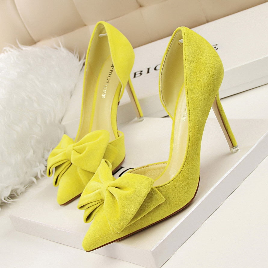 Bowtie Pointed High Heel Pumps