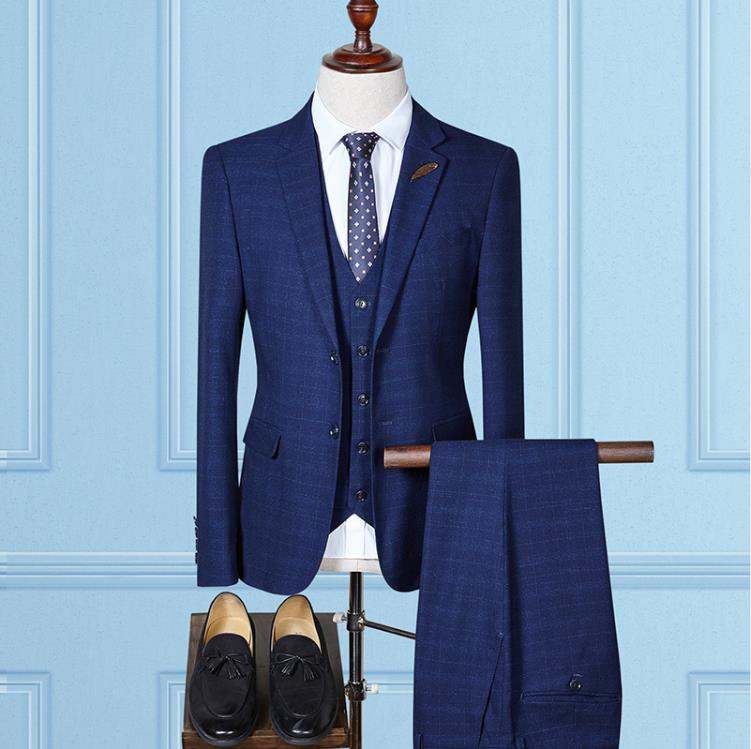 Woollen Grid 3 Piece Business Suit