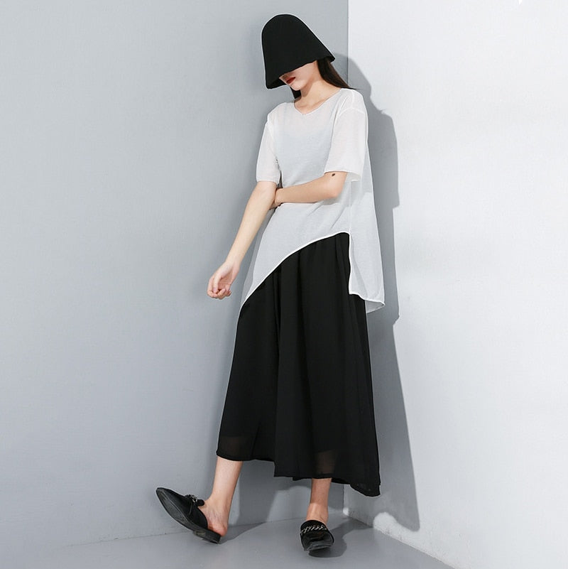 High Elastic Waist Chiffon Wide Leg Pants