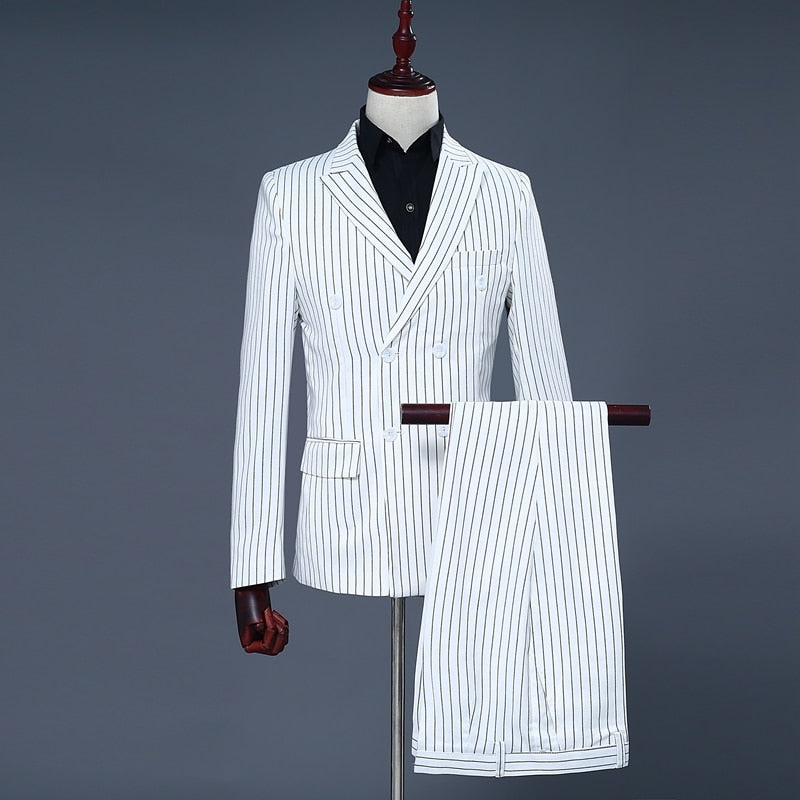 White Striped Double Breasted Suit