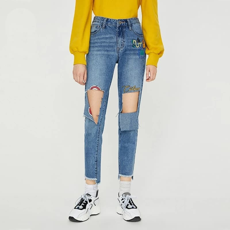 Slim Ripped Pencil Jeans