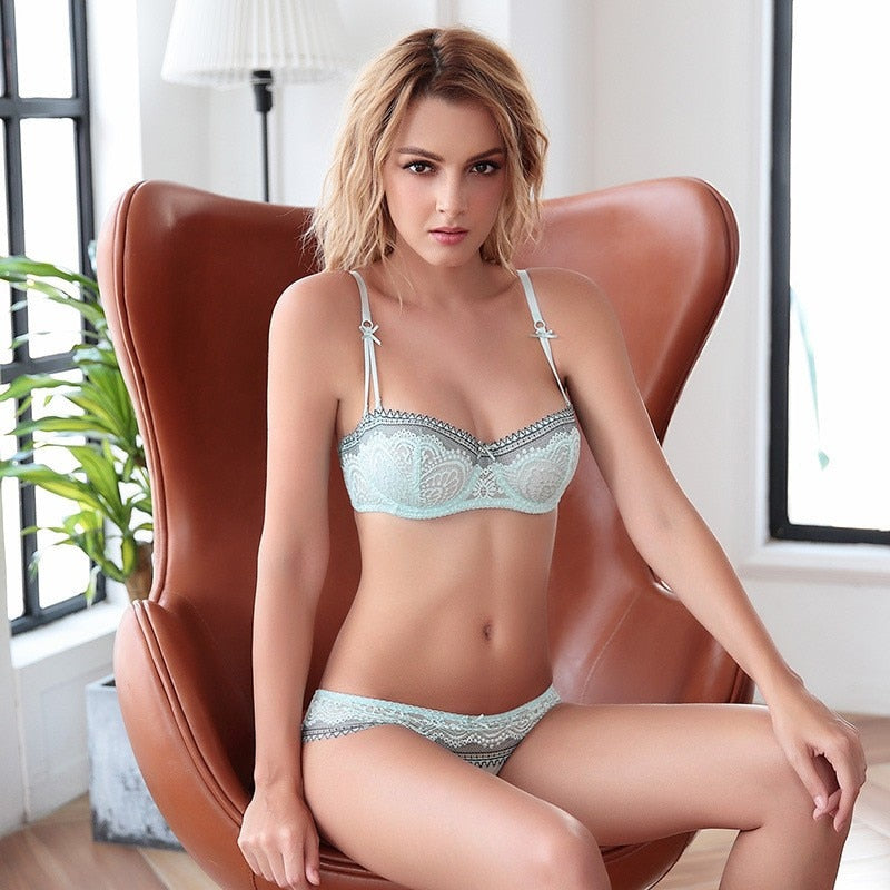Half cup Ultra-thin Lace Bra Set