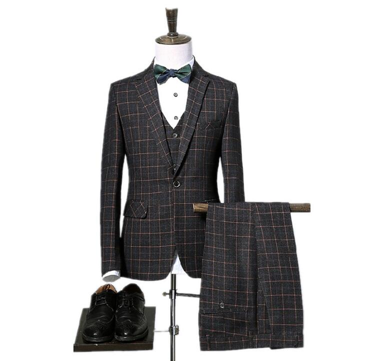 BlingFeed Inc. Plaid 3 Piece Suit men, mens-clothing, mens-suits-blazers, size-4xl, size-5xl, size-6xl, size-l, size-m, size-s, size-xl, size-xs, size-xxl, size-xxxl, suits