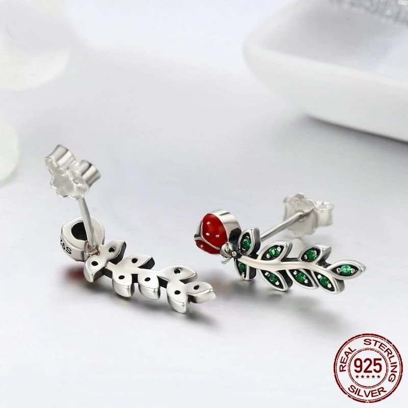 Genuine 925 Sterling Silver Ladybug Drop Earrings