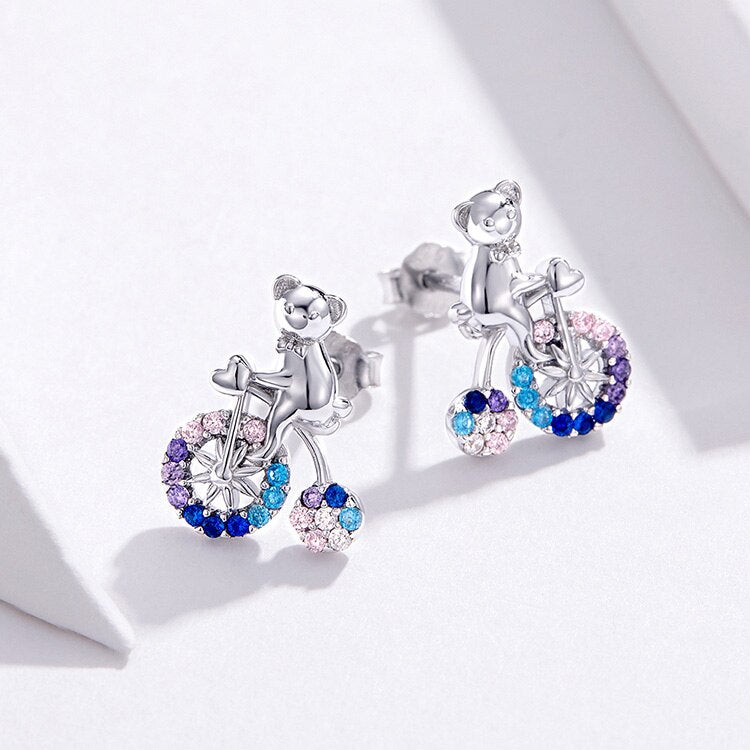 925 Sterling Silver Bicycle Bear Stud Earrings