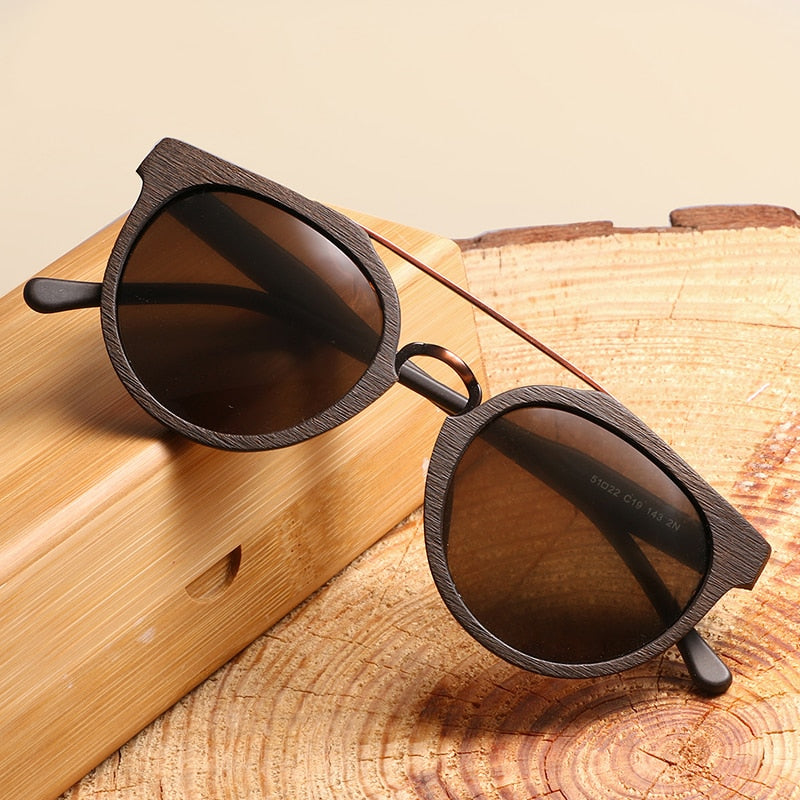 Polarized Vintage Wood Sunglasses
