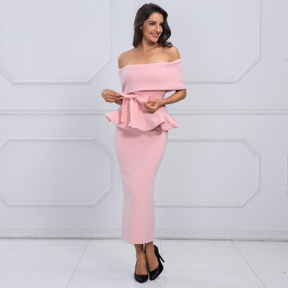 Bow & Ruffles Ankle Length Celebrity Evening Dress