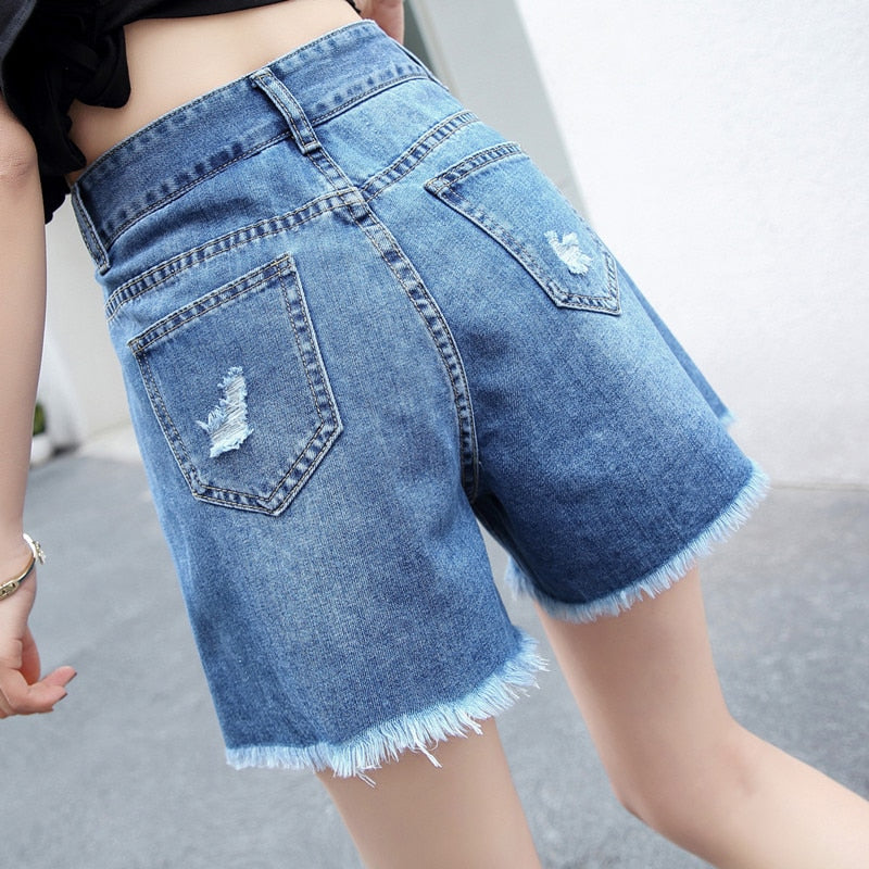 High Waist Ripped Irregular Denim Shorts