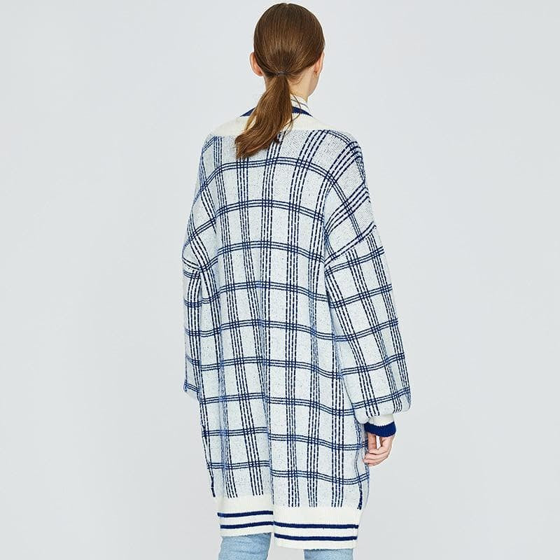 Plaid Oversized Long Cardigan