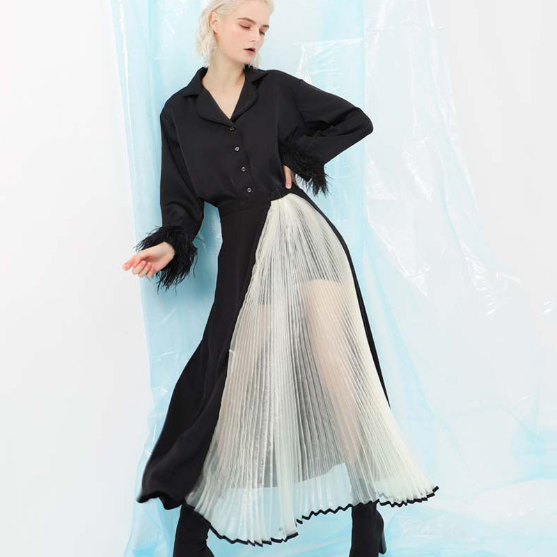 High Waist Organza Perspective Pleated Skirt