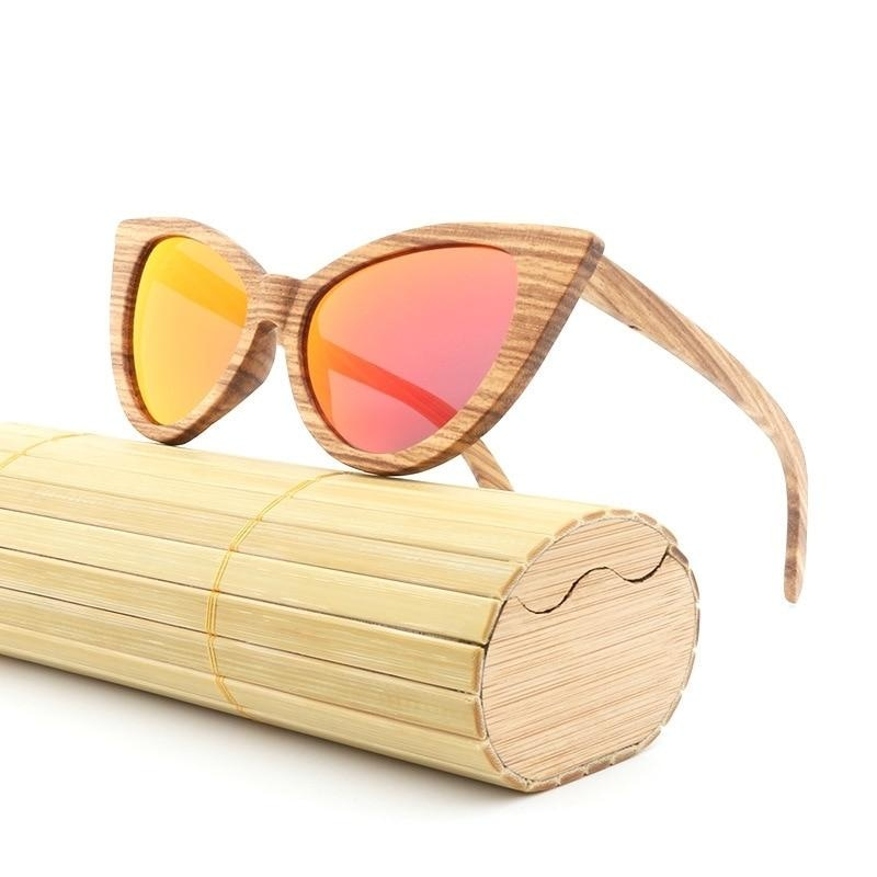 Cat Eye Wooden Polarized Sunglasses
