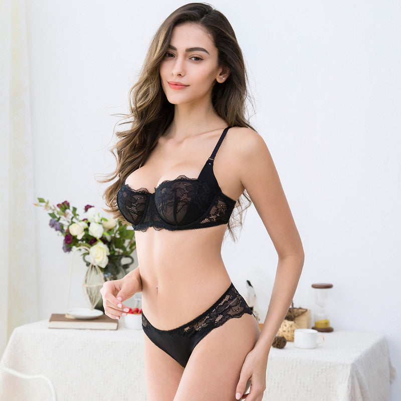 Ultra-Thin Lace Half Cup Transparent Bra Set