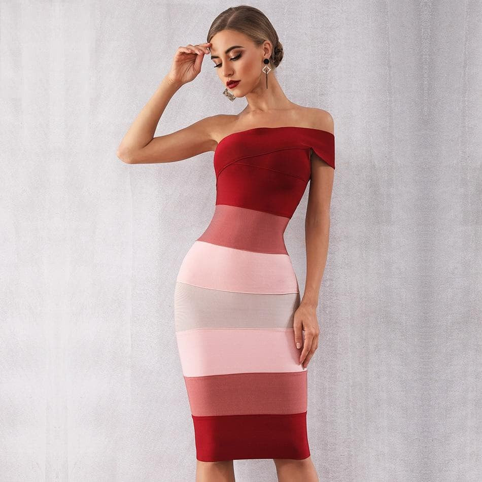 Bandage One Shoulder Midi Dress