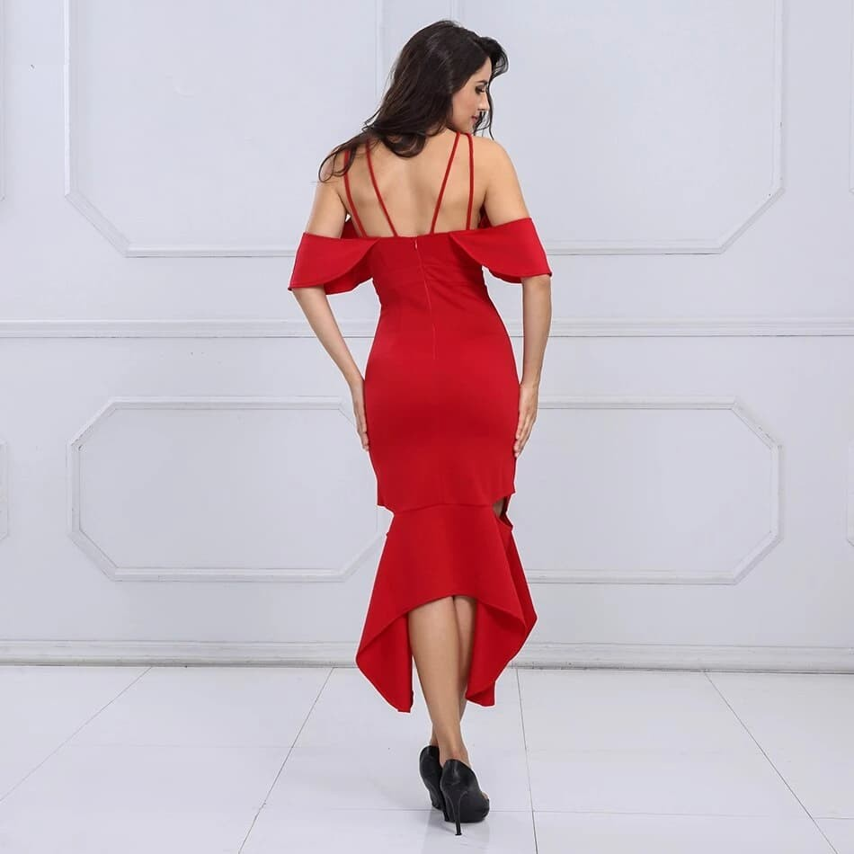 Bodycon Elegant Ruffles Maxi Dress
