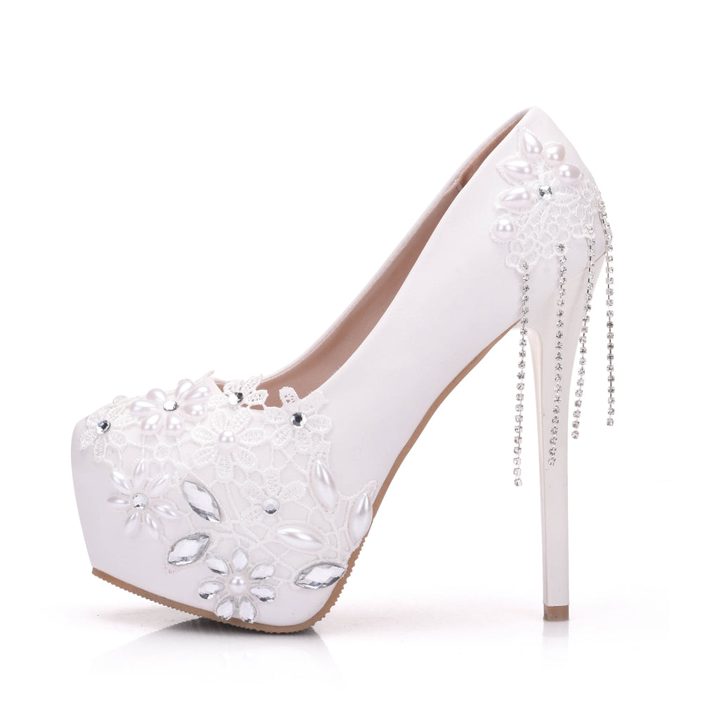 Handmade Crystal Rhinestone Lace Bridal Shoes