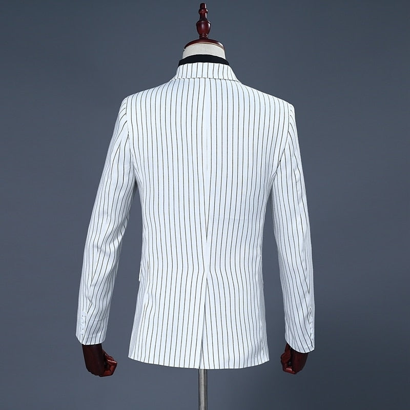 Striped 2 Piece White Double Breast Suit