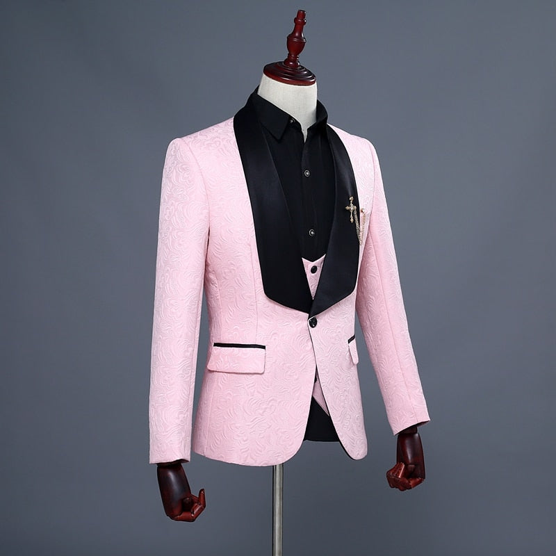 Jacquard Shawl Collar 3 Piece Grooms Suit