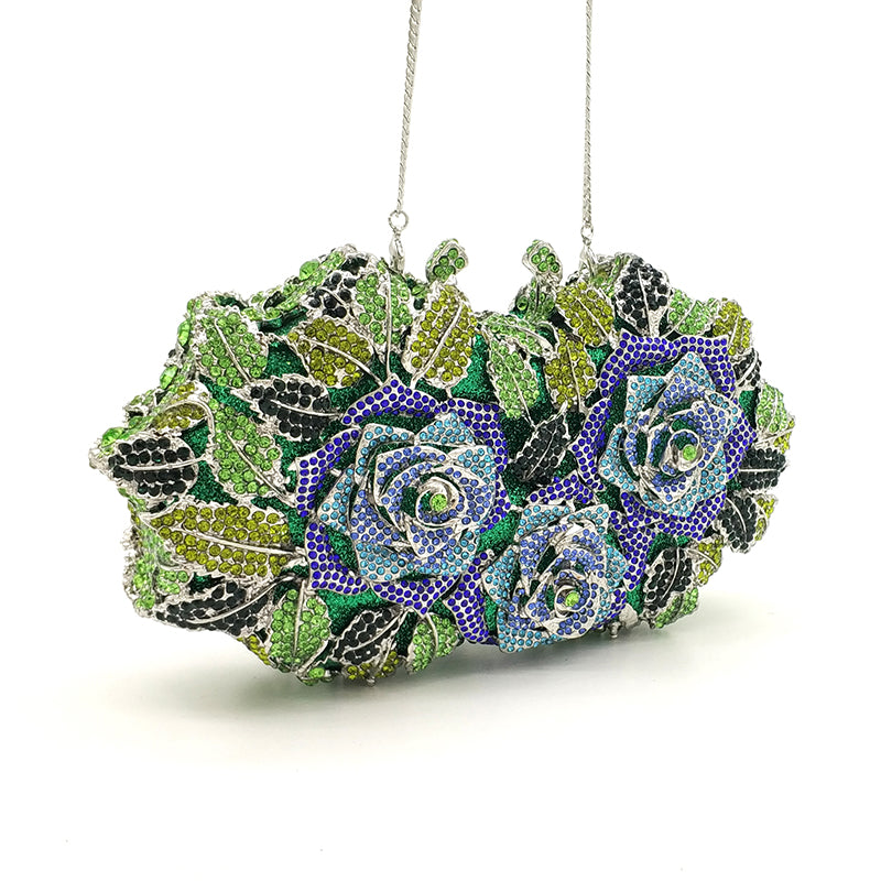 Luxury Flower Crystal Clutch