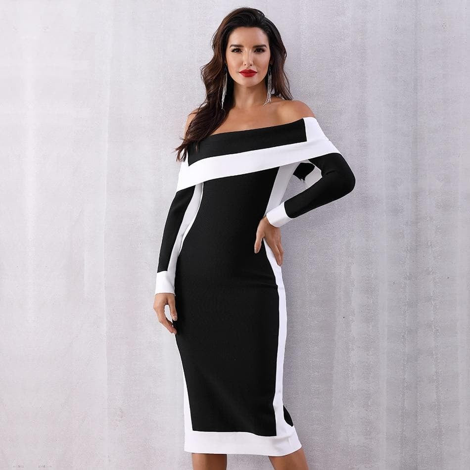 Long Sleeve Off Shoulder Club Dress