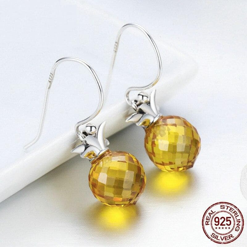 925 Sterling Silver Crystal Hanging Drop Earrings