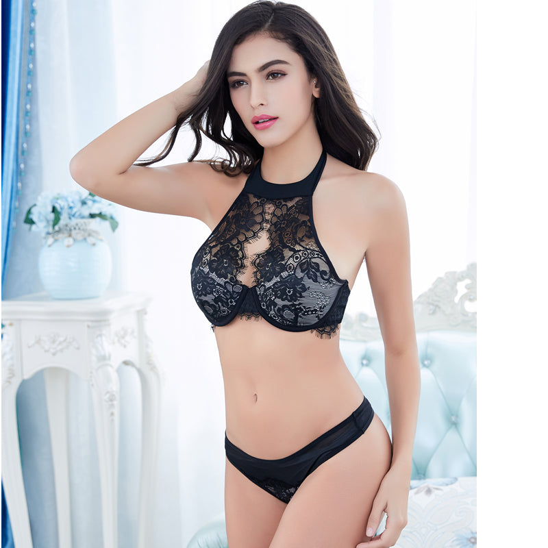 Embroidery Slim Black Lace Lingerie Set