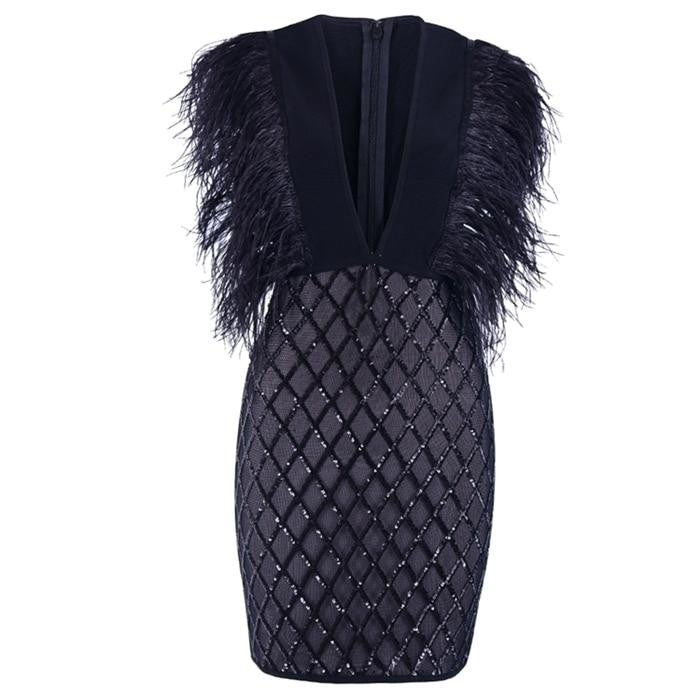 Feather Runway Deep V-Neck Sleeveless Dress