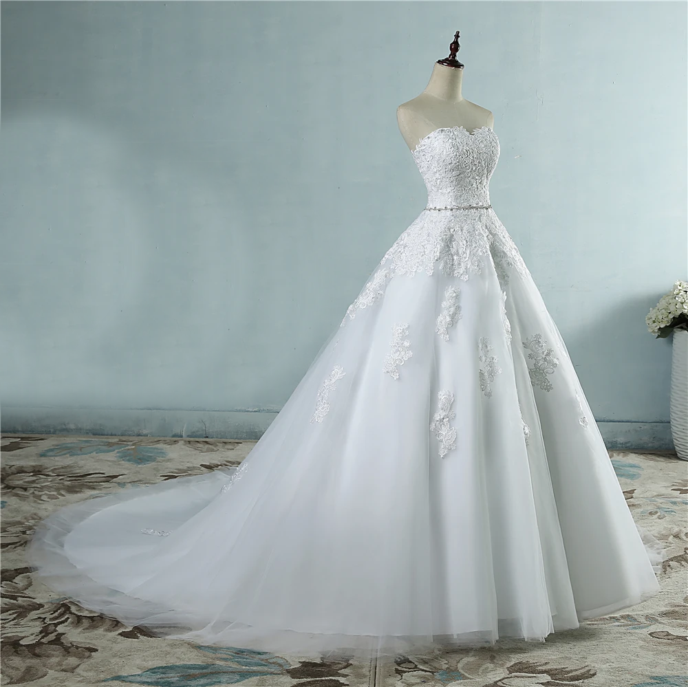Lace Flower 6 Layer Skirt Sweetheart White Wedding Dress