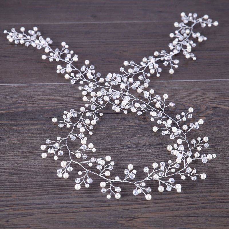 Crystal Beads Long Bridal Hairbands