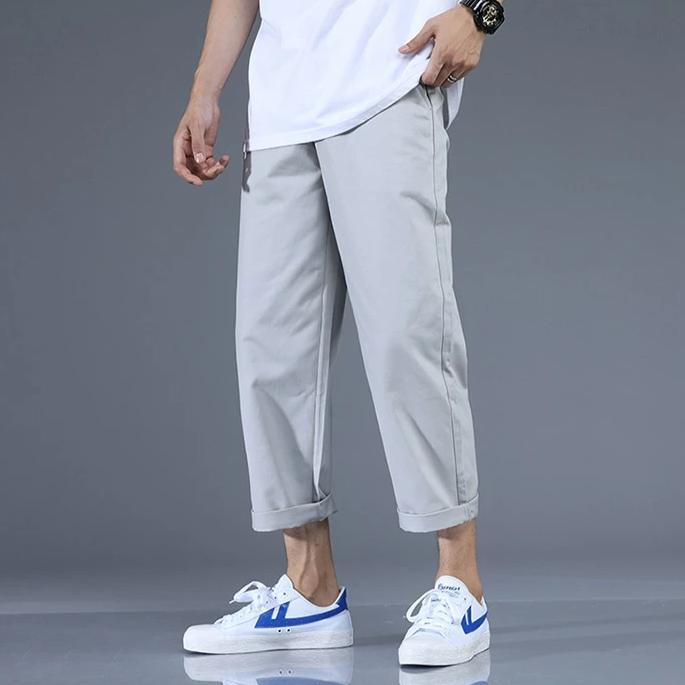 Straight Ankle-Length Cotton Pants