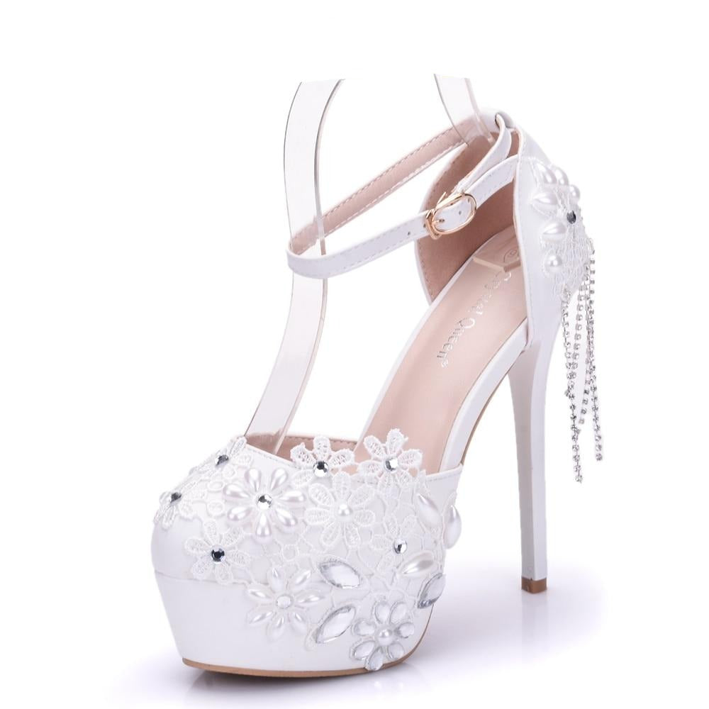 Stunning High Heel White Lace Pearl Tassel Pumps