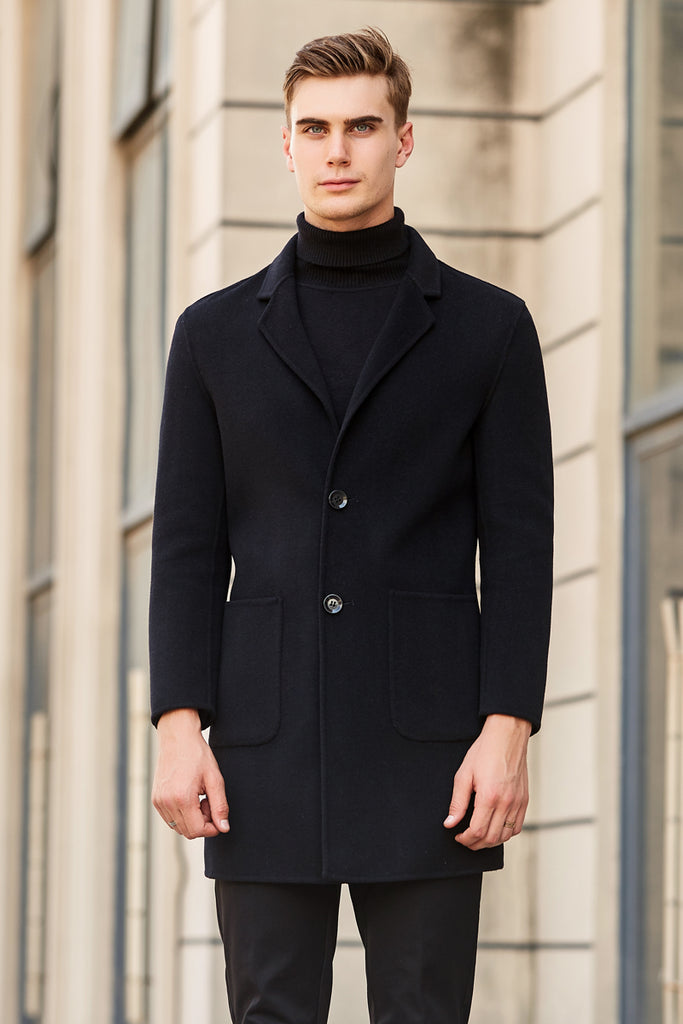 Slim Fit Wool Blend Trench Coat