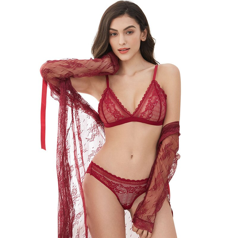 4 pcs Lingerie Set With Bra, Panties, Robe & Thongs