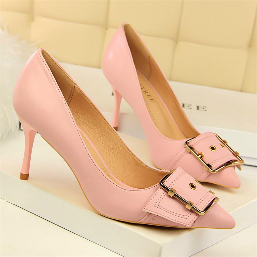 Metal Belt Buckle Pointed Toe Pumps