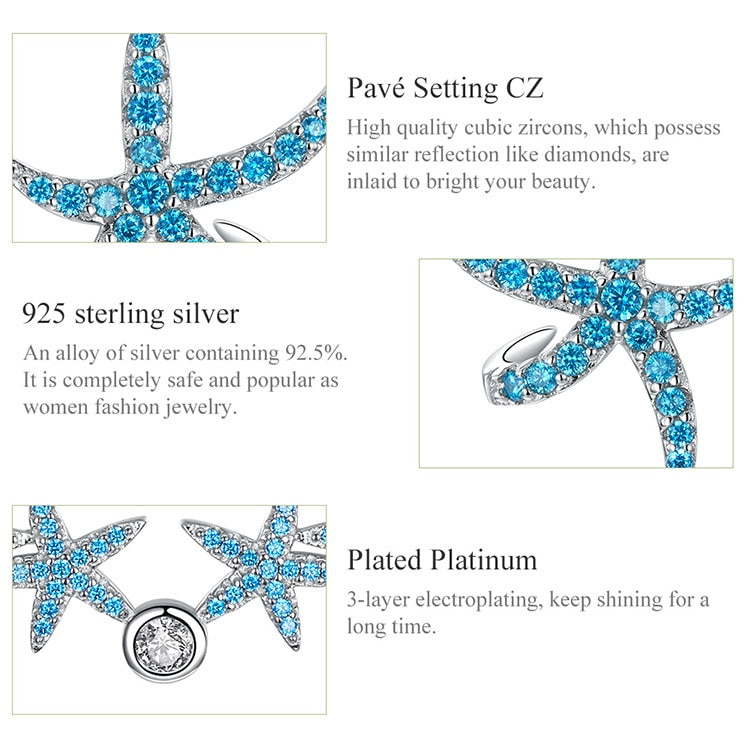 Starfish Necklace & Earrings Sterling Silver Jewelry Sets