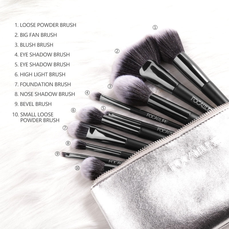 10Pcs/Set Professional Makeup Brushes Kit (black)