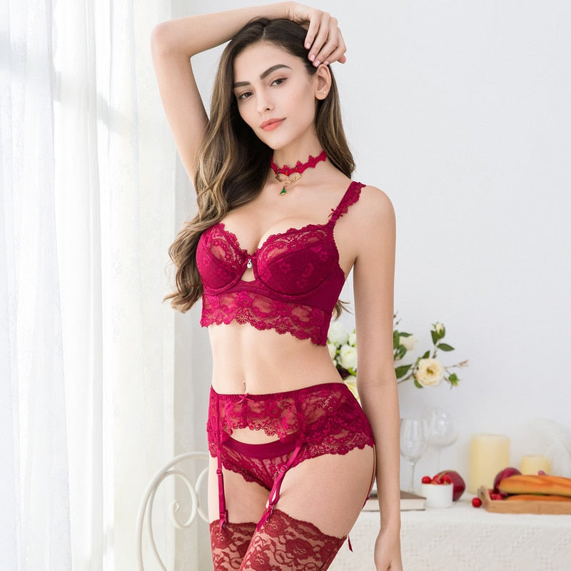 5 Pcs Lingerie Sets With Bra, Panties, Garter, Stockings & Necklace