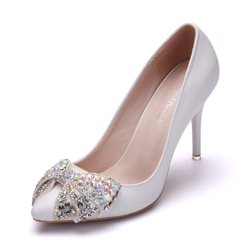 Rhinestone Bow High Heel Party Shoes
