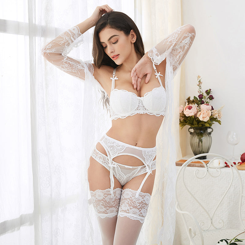 6 Pcs Lingerie Set With Robe, Bra, Panties, Garters, Stockings & Thong